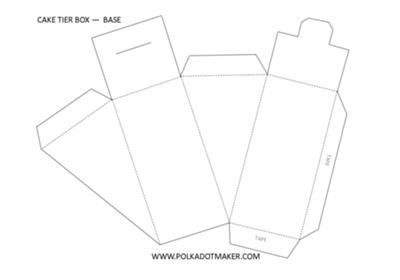 Three Tier Cake Slice Box Templates: With the three tier cake slices box or pie box templates you will be able to build awesome paper box tiered cakes. This is a complete new set of cake box