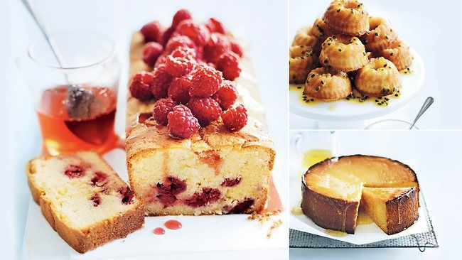 Coconut and Raspberry Cake, Passionfruit Syrup Cakes, Mandarin and Almond Cake. #donnahay #letthemeatcake