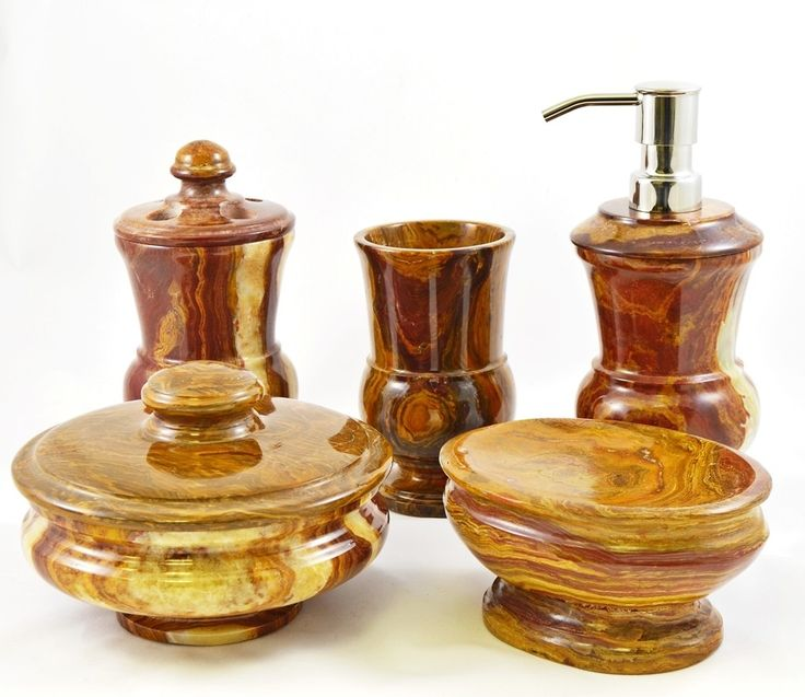 Mediterranean 5 Piece Multi Onyx Bathroom Accessory Set