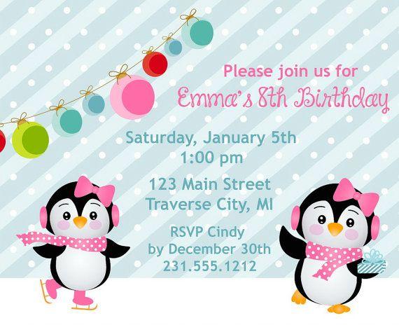 Penguins Ice Skating Birthday Invitation Kids Birthday Party Invitation for Girls