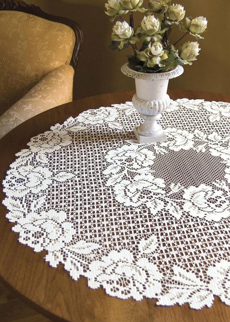 "Cottage Rose Lace 30"" Round White Table Topper Clearance"