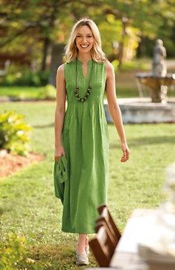 Green pintucked linen dress.