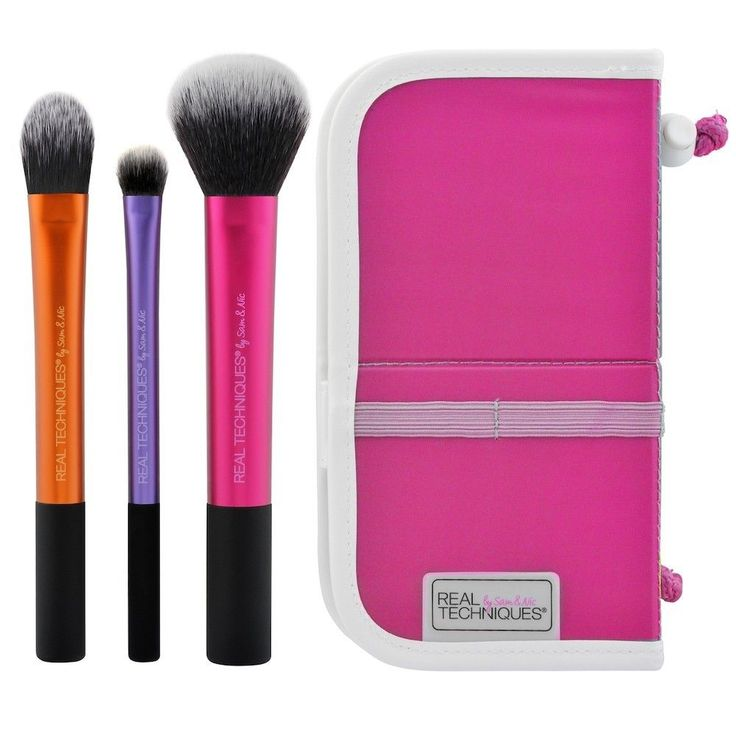 NEW-REAL TECHNIQUES Travel Essentials Makeup Brush Set w/Case ** FREE SHIPPING * #REALTECHNIQUES