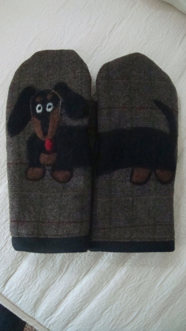 Wool Mittens With Felted Black And Tan Wiener Dog Wool
