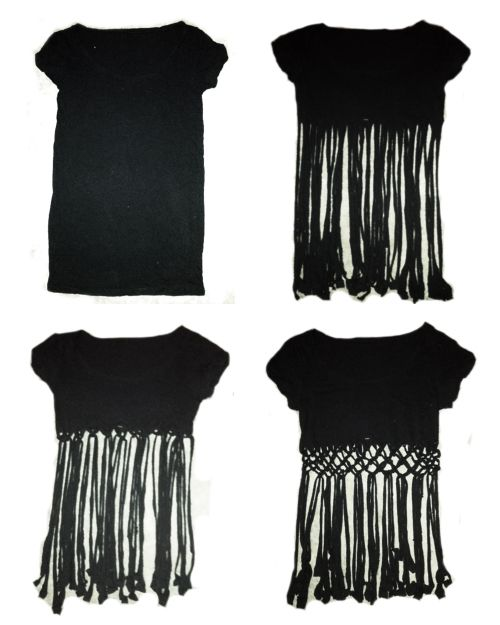 Coco 的美術館: DIY T- Shirt Redesign Ideas (part 3)-- DIY T- Shirt Redesign : Weaving/ Pin