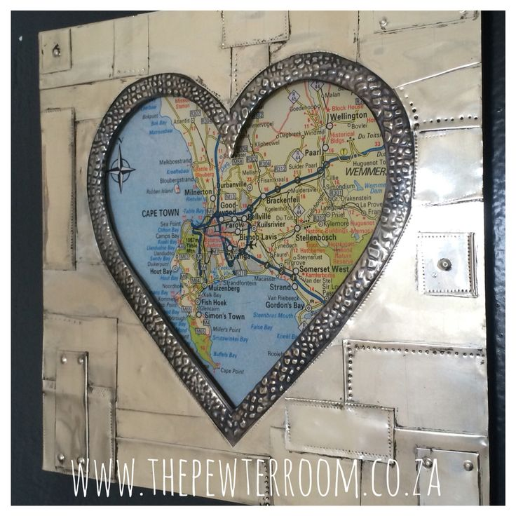 Cape Town map with pewter embossed frame. Made by Lee @ The Pewter Room