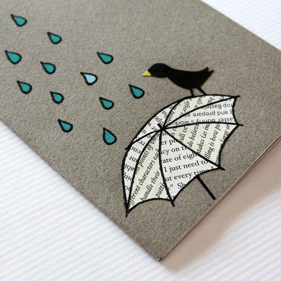 Moleskine estilo mini notebook - lluvia, sombrilla y pájaro - hecho a mano