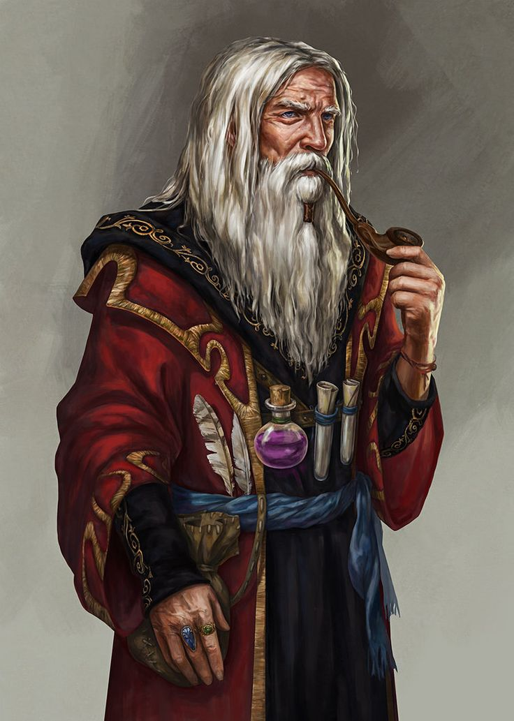 Old Human Wizard - Pathfinder PFRPG DND D&D d20 fantasy