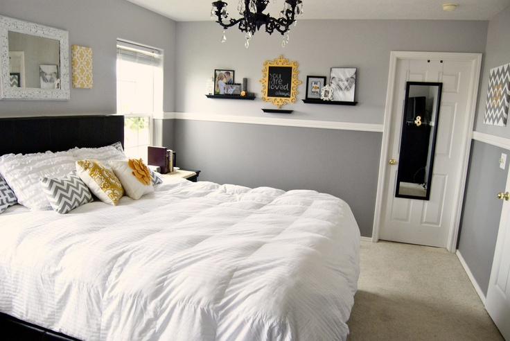 gray and yellow bedroom like this diane gray walls n white comforter