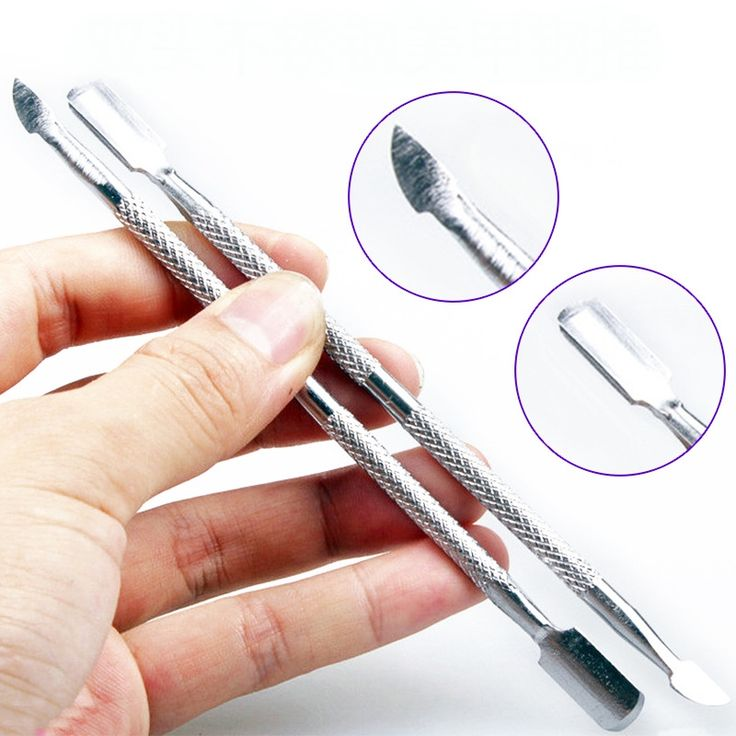 2PCS Stainless Steel Nail Tools Cuticle Nail Pusher Cleaner Spoon Remover Manicure Pedicure Care Nail Art Equipment