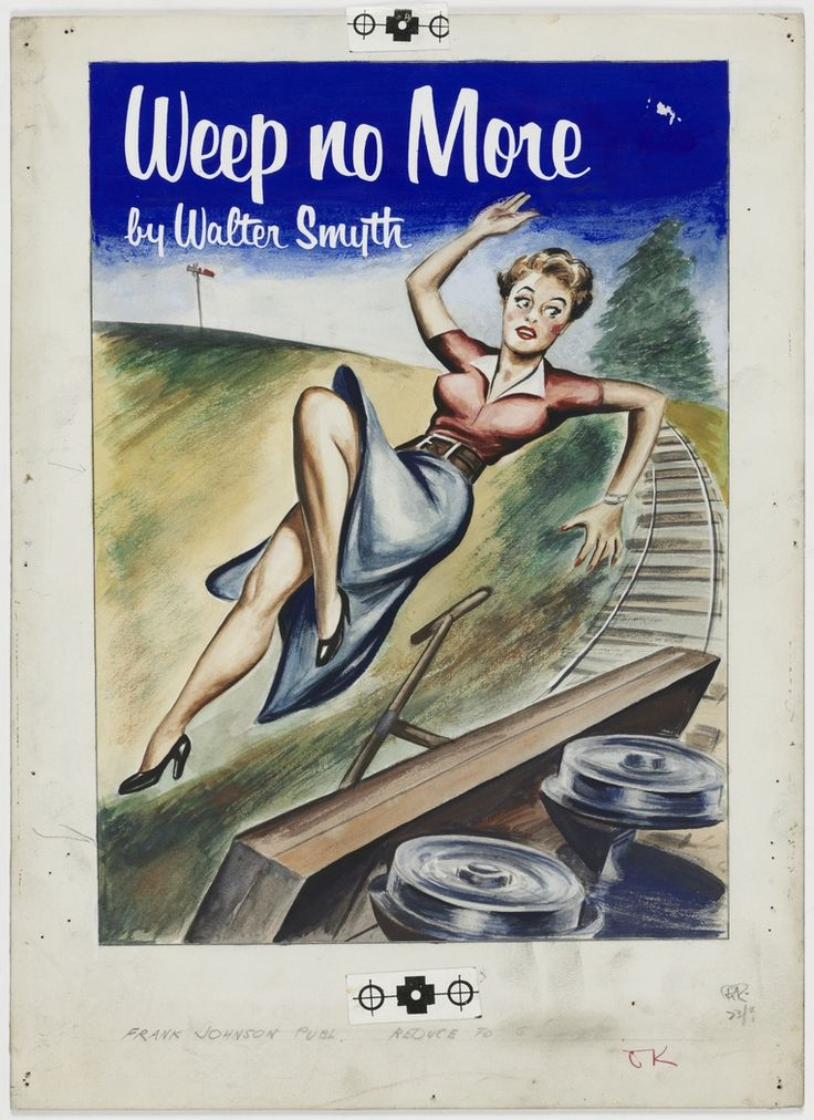 """'Weep No More', ca.1946, cover illustration for crime story """"pulp"""" published by Frank C. Johnson, Sydney."""