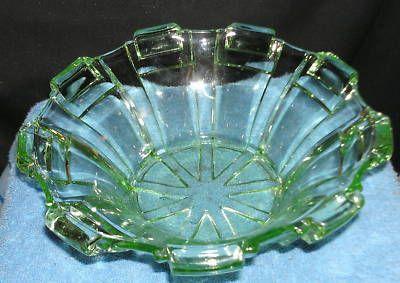 Art Deco Uranium Depression Glass Bowl. Pylons