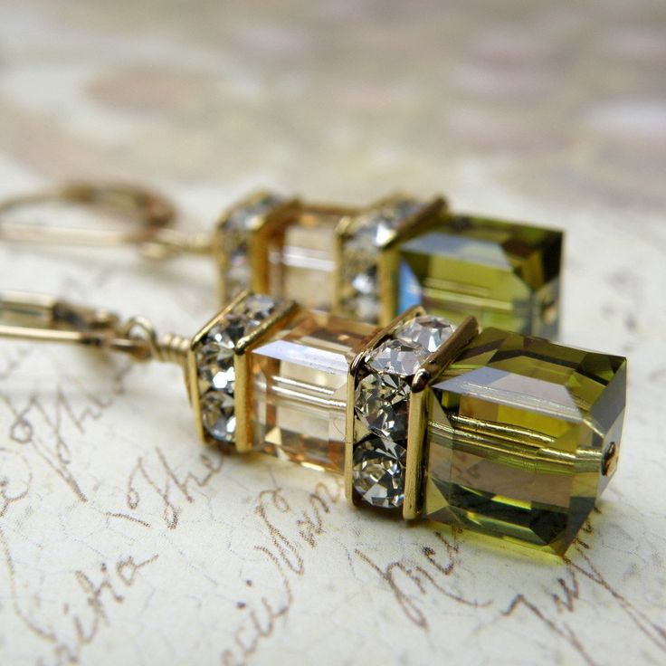 Autumn Earrings, Olive Green, Champagne, Crystal, Gold, Handmade Jewelry