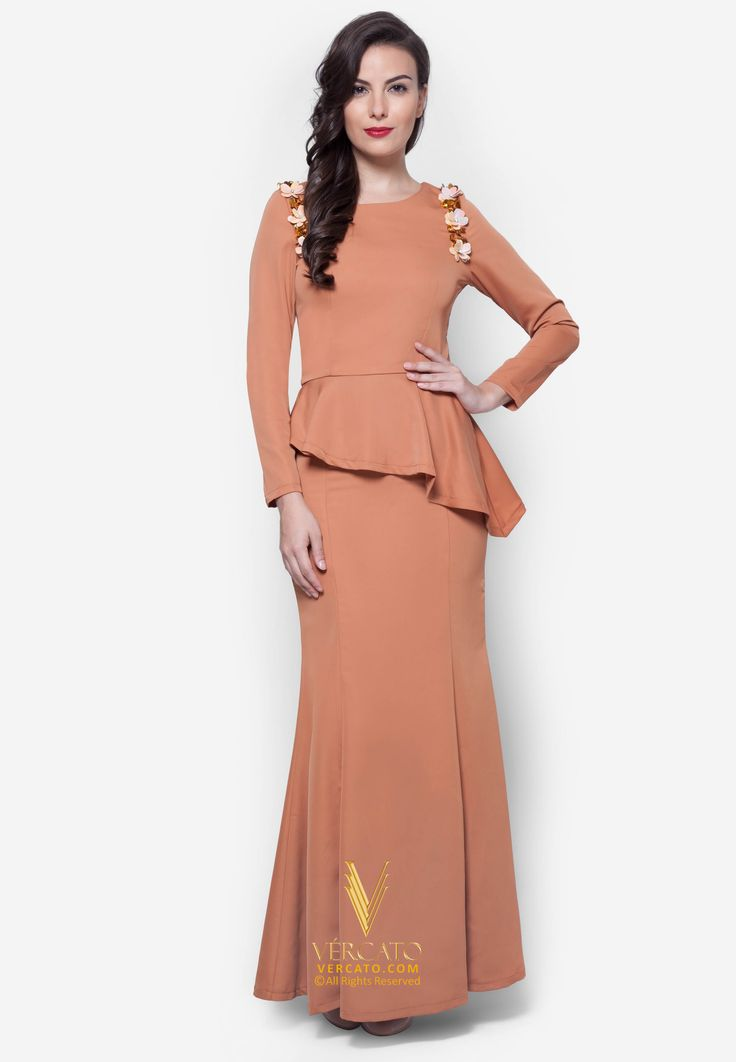 Baju Kurung Moden Peplum - Vercato Laila in Brown. Buy baju kurung with floral-inspired sequin embellishments, and a wonderfully clean cut silhouette.SHOP NOW: www.vercato.com.