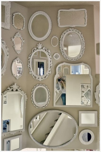 DIY:: Mirror Wall !! by Not So Shabby - Shabby Chic -- These would be easy to find a yard sales and thrift stores then spray painted the same color! Great in a bedroom or in a hallway.: