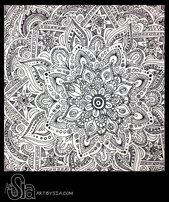 Original Zentangle Doodle Drawing - Modern Abstract Art - Pen and Ink - Home Decor - 8x8 Design by Sia via Etsy