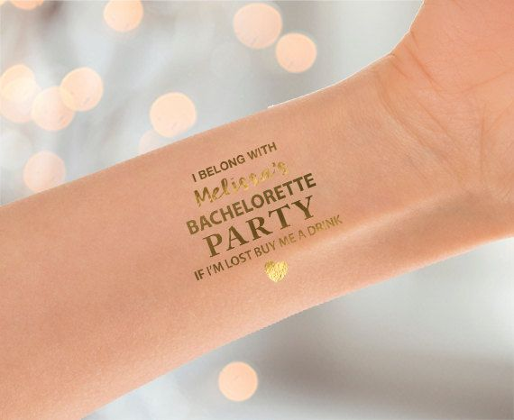 Eye catching metallic gold bachelorette tattoos. A fun, glamorous addition to any bachelorette party! This listing is for 10 (or more) Bachelorette