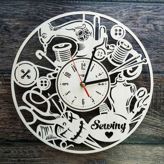 Sewing Wood Wall Clock Unique Tailor Home Office Kitchen Etsy In 2020 Wall Clock Wood Wall Clock Unique Wall Clocks