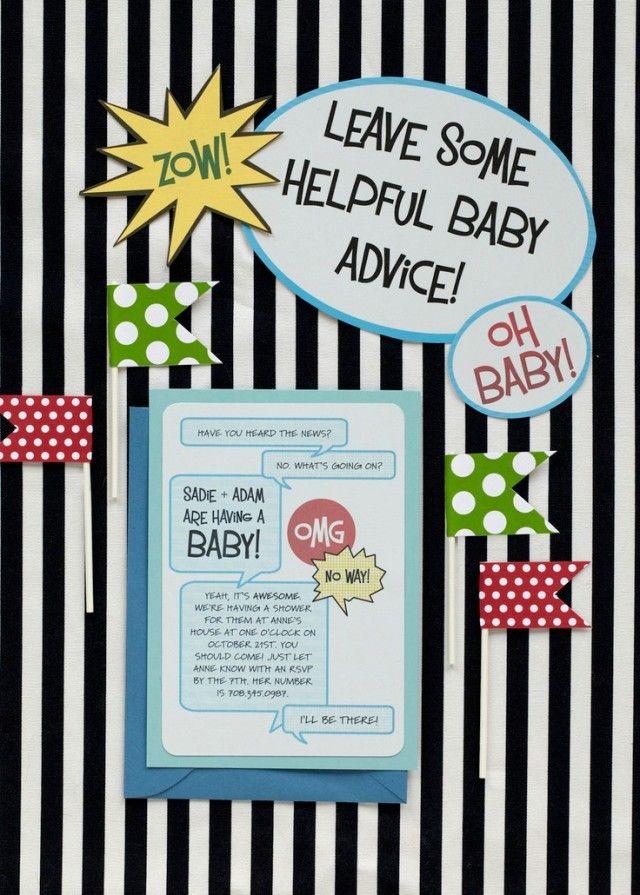 Comic Book Baby Shower Theme Invite Amazing