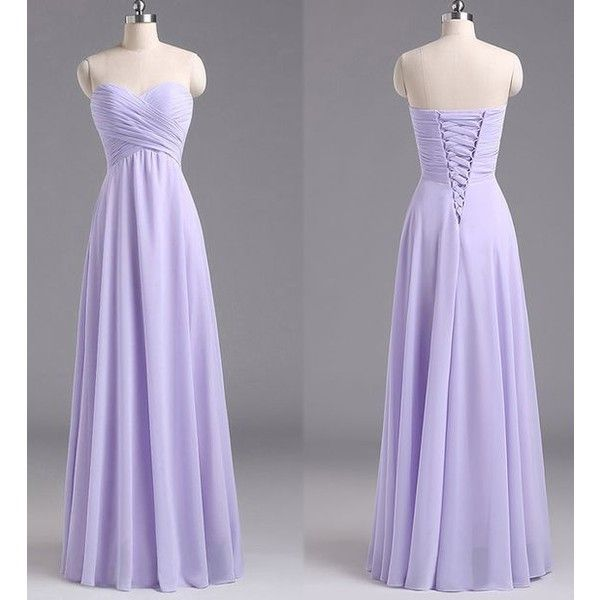 Tide The Dress ❤ liked on Polyvore featuring dresses, sweetheart neckline bridesmaid dresses, lavender bridesmaid dresses, floor length chiffon dress, ruched dress and light purple dress
