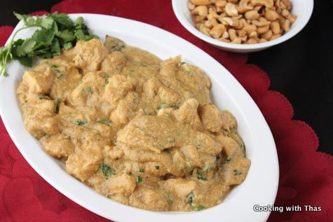 Cashew-chicken korma. This looks lighter than I'm used to seeing it. Play with the spices.