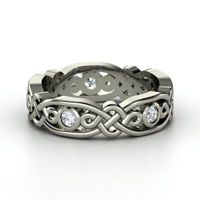 Platinum Ring with Diamond  - lay_down: Brilliant Alhambra, 14K White, Celtic Rings, Alhambra Bands, Gemvara, White Gold Rings, Jewelry, Celtic Knot, Sterling Silver Rings