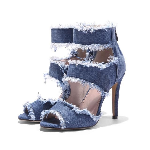 Shop Denim Sexy Ladies Ankle Strap High Thin Heels www.essish.com/