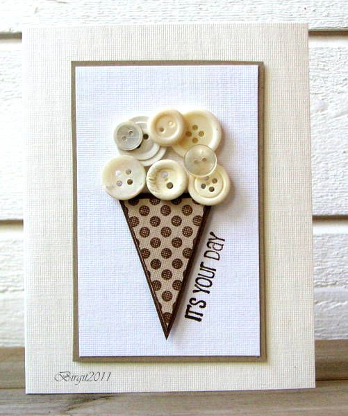 A paper cone and leftover buttons make a cute handmade birthday card!  Change the flavor by using different color buttons, or add another scoop!