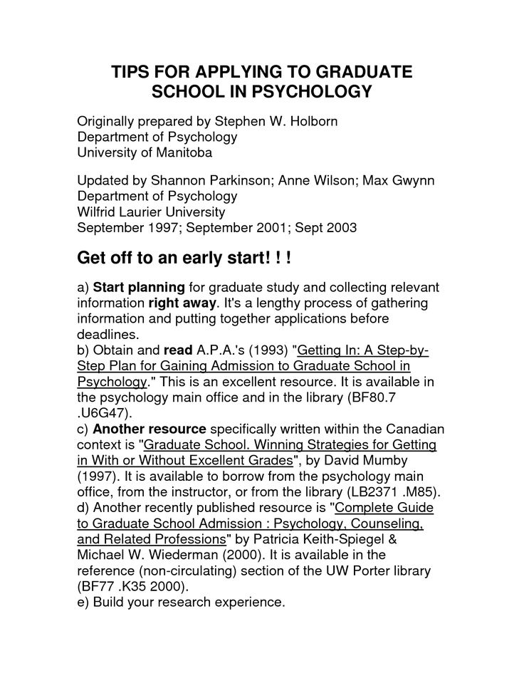psychology graduate school resume httpwwwresumecareerinfopsychology - Resume For Grad School