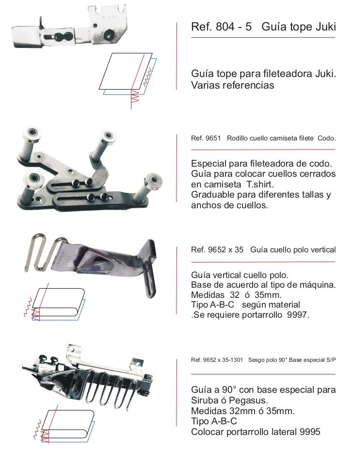 Colecciones industriales: FOLDER Y PIES PARA MÁQUINAS DE COSER ...
