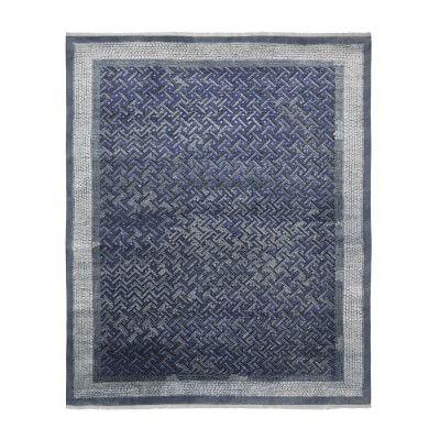 Luke Irwin, Deverill Mosaic Hand Knotted Rug, 9x12', Peacoat