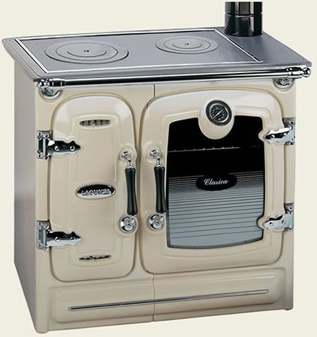 Wood Burning Stove: Modern cook stoves serve as dual purpose heating and cooking stoves. They are constructed much like wood heating stoves but are specially designed to focus the heat at particular surface areas for cooking. Some of the higher-end stoves also have ovens for baking.