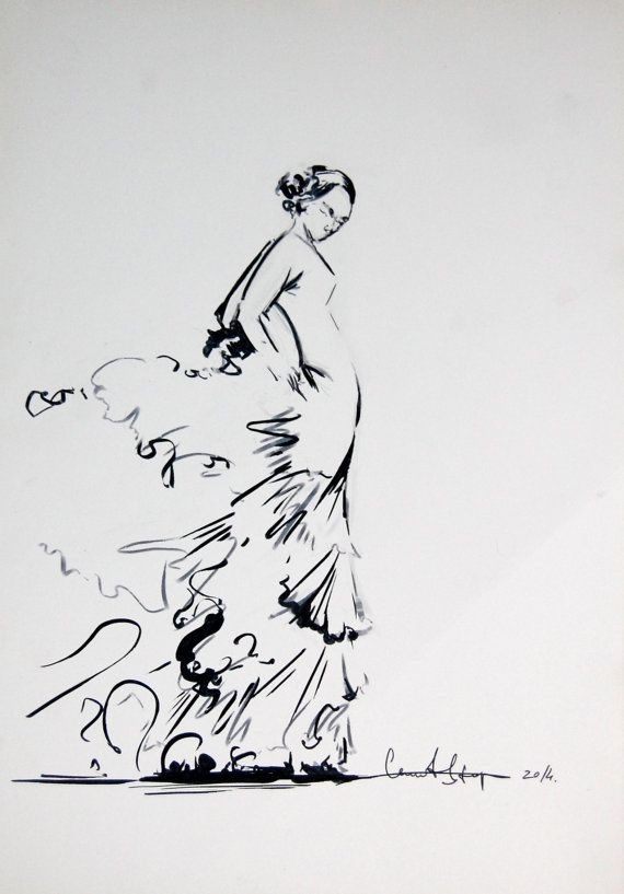 Original Drawing - Black and White Ink Brush Pen Drawing - Flamenco Dancer - Modern Wall Art - Minimalist