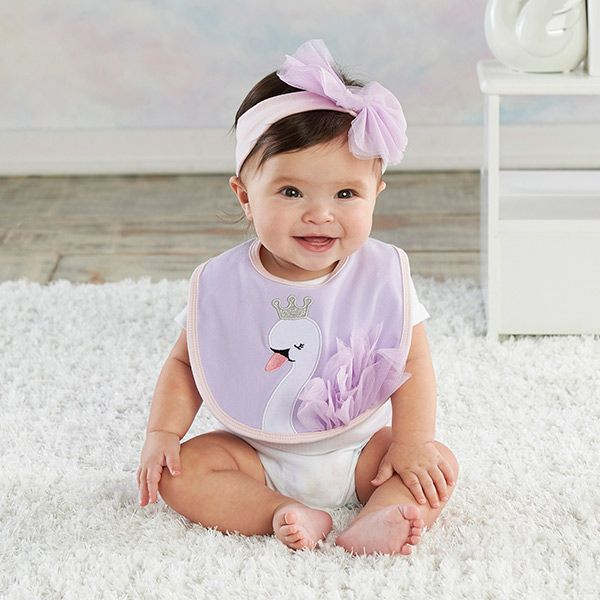 Our Fairy Princess Swan Bib And Headband Set Includes A Bib And Matching Headband Both Accented With Purple Tulle And Baby Robes Baby Aspen Kids Clothes Sale