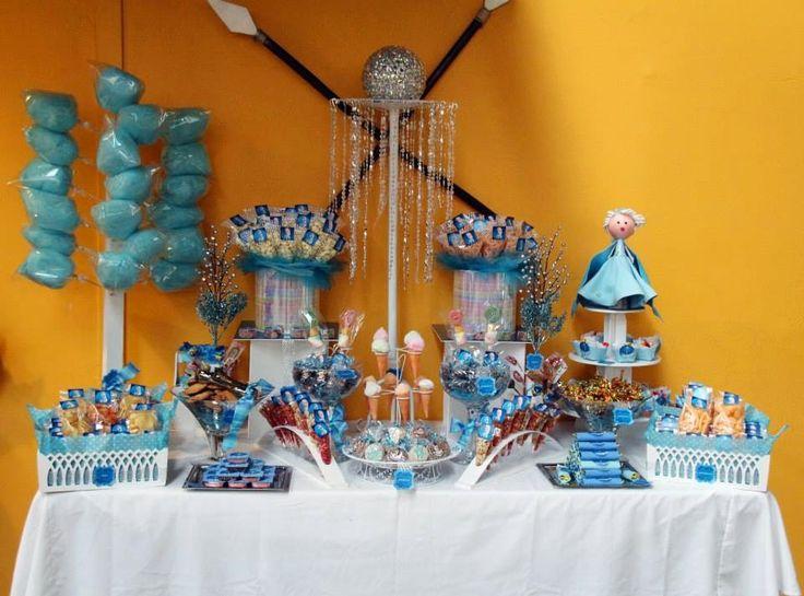 Mesa de dulces y botanas, Elsa Frozen - okmira www.mesadedulce.com