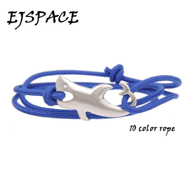 Tom hope  Jewelry Silver Plated Ocean Shark Rope Bracelet for Women&Men Shark Bracelet  Anchor Bracelet pulseira masculina