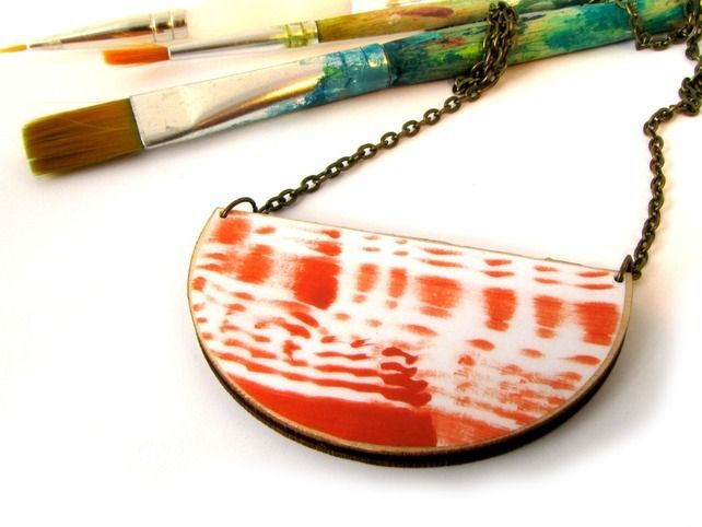 Hand Painted Abstract, Terracotta, Contemporary, Semi Circle Statement Necklace £26.00