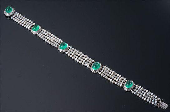 Edwardian Cabochon Emerald, Diamond and Pearl Bracelet ~ M.S. Rau Antiques