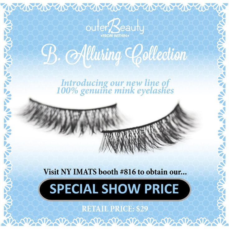 Come visit #IMATS booth 816 in New York next weekend.  We will be showing our entire line of 100% genuine #minklashes #lashes #falsies #minkeyelashes.  Take advantage of our special show pricing.  See you at #IMATSNYC! #IMATSnewyork #falsies #fakeeyelashes #fakelashes #outerbeautycosmetics #outerbeautyinc