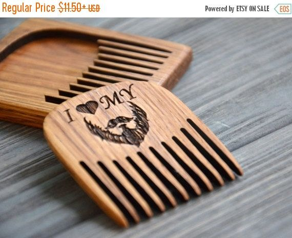 On Beard Comb Personalized Custom Engraved Wooden For Men Him I Love My Moustache Hair Old World
