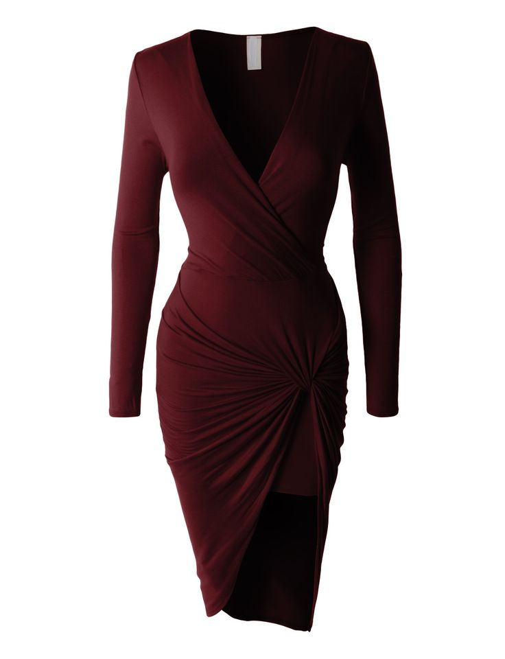 LE3NO Womens Lightweight Side Draped Bodycon Dress with Stretch