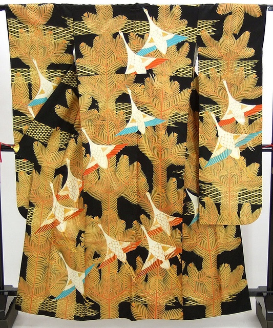 Japan, Furisode, flying cranes over pine tree