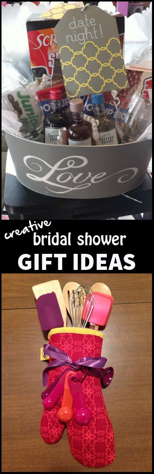 "Creative Bridal Shower Gift Ideas. LOVE  this so much! Hopefully someone will do the baking dish and apron for me! Mom? Lol! I'd prefer the apron to say ""Mrs. Randall"" though"