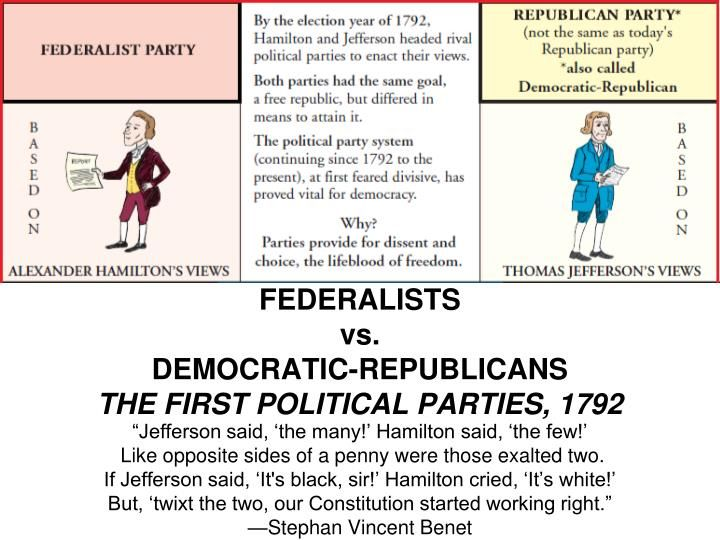 a comparison of ideals between federalists and democratic republicans Activity 2 the platform of the federalists and democratic-republicans the early federalists and democratic-republicans did not publish party platforms they had no campaign slogans or posters in this lesson, students will use statements from members of these parties to create party platforms and if desired, slogans or posters.
