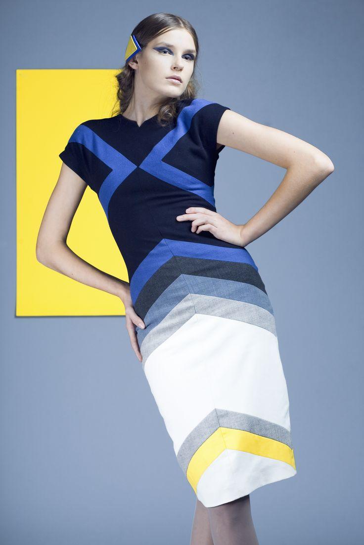 Futuristic,pencil dress.  Geometrics collection created in 2008
