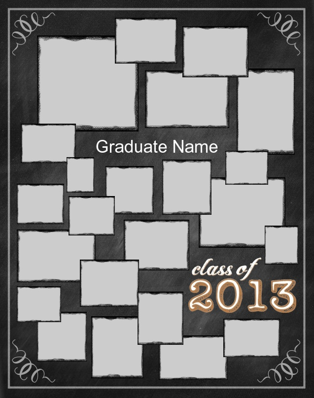 """Chalkboard Poster Template. Use our FREE software to create a poster for your graduating senior. Many design templates available, or design your own. Posters are 23"""" x 29"""". Mount and laminate options available. Go to www.focusinpix.com for more information."""