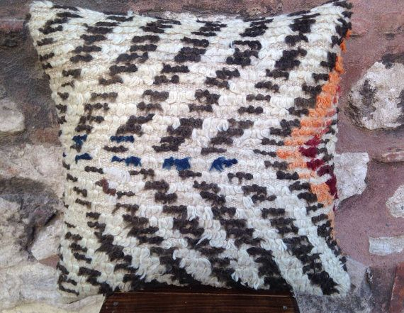 20' x 20' Handmade Tulu Carpet Pillow Cover, 100 years old rug, black and white zigzag pattern pilow, red, orange, natural, vintage 1910s.
