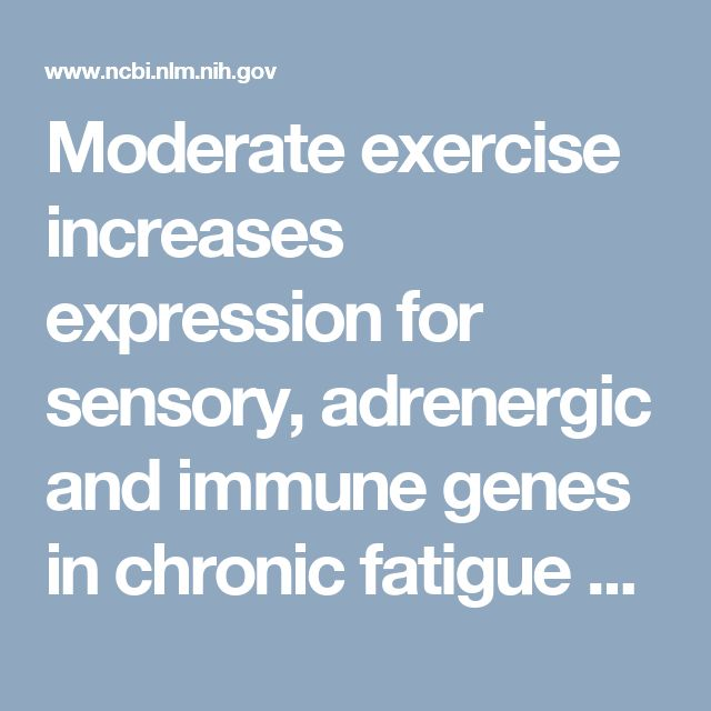 Moderate exercise increases expression for sensory, adrenergic and immune genes in chronic fatigue syndrome patients, but not in normal subjects https://www.ncbi.nlm.nih.gov/pmc/articles/PMC2757484/