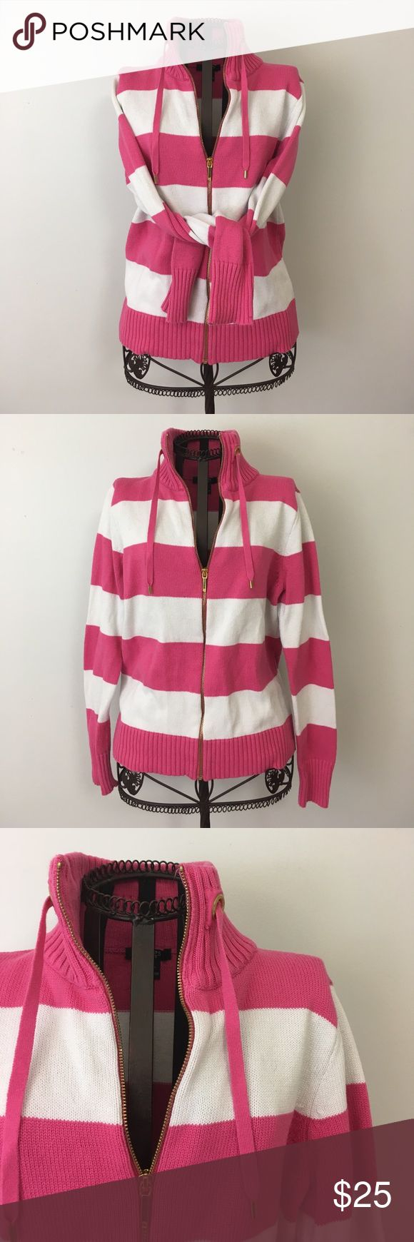 - Chaps - Women's zip up sweater by Chaps. Excellent like new condition. Thick stitching pink and white striped. Gold zipper with drawstrings. 100% Cotton. Chaps Sweaters