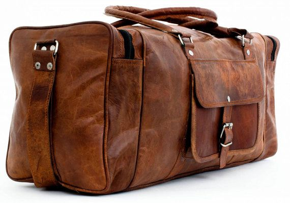 Steampunk Leather Travel Bag Overnight Bag by VirtualShoppe18. Nice bag, but can't tell brand or quality.